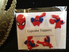Cupcake Toppers - Spiderman x5 - (Washable & Re-Useable - PVC & Plastic)