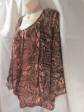 AVENUE STUDIO NWT 18/20 Plus Women's Batwing Blouse Pink/Brown Elastic Bottom
