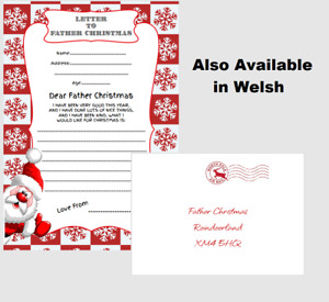 Children's Letter To Santa Claus Father Christmas - With Envelope Wish List Xmas