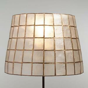 Natural Capiz Shell Accent Lamp Shade w/Gold Trim ~ Fits Uno Sockets ~ Handmade