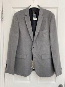 NEW Next Size 42 R Slim Fit 100% Wool Light Grey Smart Blazer Jacket Stretch