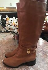 Michael Kors Hamilton Leather Gold Padlock Riding Boots Size 9.5M EUC, MSRP $298