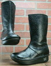 *ALEGRIA Vale Black Rose Embossed Boots Fleece Lined Size EUR 39/US 8.5 M