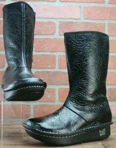*ALEGRIA Vale Black Rose Embossed Boots Fleece Lined Size EUR 36/US 5.5 M