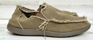 Crocs Mens Santa Cruz Loafers Shoes Beige Khaki Canvas Slip-On Frayed Trim Sz 11