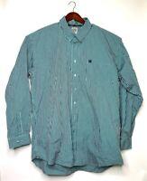 Cinch Mens Oxford Shirt Green Black Stripe Long Sleeve 100% Cotton Flip Cuff XXL
