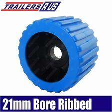"4"" Boat Trailer Wobble Roller Ribbed 21mm Bore 3"" Wide Blue Boat Jet Ski Trailer"