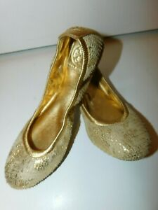 Tory Burch Gold Tone Leather Ballet Flats Shoes size 7.5