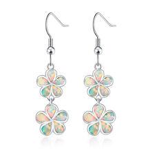 """White Fire Opal Women Fashion Jewelry Gems Silver Dangle Earrings 1 5/8"""" OH3002"""