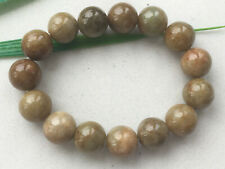 Certified Brown yellow natural Grade A 13mm Jadeite bead elasticity bracelet 154