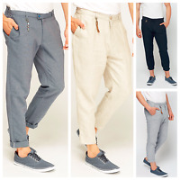Men's ZARA Linen Cotton Cream Blue Navy Long 3/4 Zipped Pockets Trousers Pants