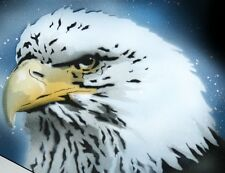 NEW!  EAGLE HEAD Airbrushed Black T-shirt design, Any size up to 6X