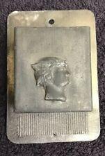 WALL TIN  MATCH HOLDER 2-1/4 X 3-1/4. ROMAN Or LADY?PROFILE w/SCRATCHER