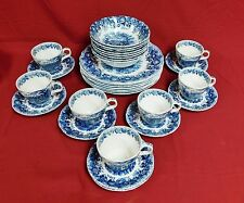 30 Pc Alfred Meakin STAFFORDSHIRE England-Romance Blue Floral Dinnerware Set