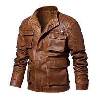 Hommes veste en cuir vintage épaisseur chaude moto tops manteaux multi de poche