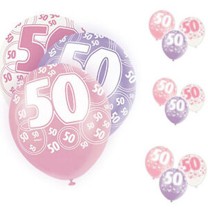 """Age 50th Birthday Balloons Pack of 6 Glitz Pink Size 12"""" 2pc Each Colour New"""