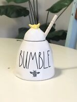 Rae Dunn 'BUMBLE' Honey Pot Ceramic Ivory with Yellow Bee and Wood Dipper.