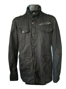Crosshatch black military jacket knitted rib collar multiple pockets Size Small