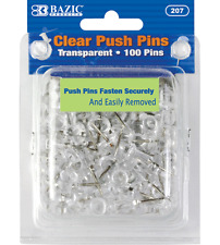 100 pins/pack in Transparent Clear Push Pins Bazic #207