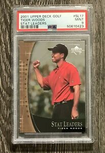 Tiger Woods 2001 Upper Deck Golf Stat Leaders #17 Rookie RC PSA 9 MINT