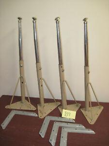 """Lot 4 Vintage Beige Metal Table Legs 24-1/2"""" Industrial School Desk Hairpin"""