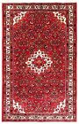 3.5 x 5.3 Hand Knotted Tribal Red Ivory Wool Nomadic Hamedan Oriental Area Rug