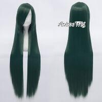 Green 80cm Straight Long Anime Cosplay Wig Women Girls Lolita Style + Cap