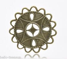 50 Hello Bronze Tone HOTSELL Filigree Wraps Connectors 37x37mm