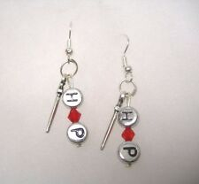 Harry Potter Wand  with H P Letters Earrings  9.25 Hooks