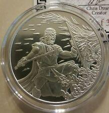 "1 oz .999 silver shield "" the Crucible "" Roman Warrior king Leonidas BU w/ COA"