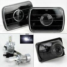 "7X6"" Black Glass Projector Headlight Conversion w/ 6K 36W LED H4 Bulbs Pair Dodg"