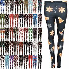 Womens Xmas Christmas Santa Reindeer Snowman Gifts Stars Trees Ladies Leggings