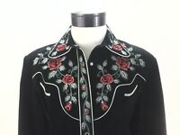 SCULLY Western Embroidered Black Suede Shirt Jacket Red Roses Snap Women's L EUC