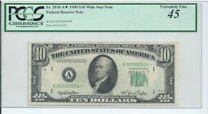 1950 $10 FRN RARE Wide Star * Boston Federal Reserve Note PCGS 45 CH Xtreme Fine