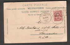 1904 Manderanthal post card Silenen Switzerland to Stehli Silk Mill Lancaster PA