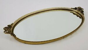 "Vintage Brass Ormalu Vanity Mirror Tray Perfume Floral Lace 20.5"""