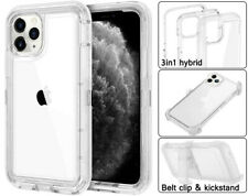 Clear For iPhone 12 Mini 12 Pro Max Rugged Defender Case with Clip fits Otterbox