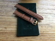 20mm Soft Cognac Leather Band with Rolex Gold Plated Buckle and Rolex Pouch