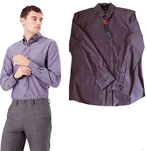 M&S Mens Tailored Fit Pure Cotton Oxford Shirt Bugundy Medium
