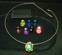 Joan Rivers Classics 8 Interchangeable Faceted Jewels Gold Tone Omega Necklace