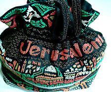 Jerusalem Walled City Beaded Bag, Drawstring Closure, Nylon Lining