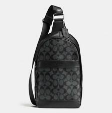 NWT Men's Coach F54787 Charles Sling Pack Bag in Signature Black $350