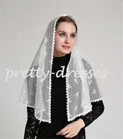 Black White Lace Bows Mantilla Veils for Church Catholic Appliques Head Covering
