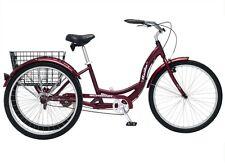 "Schwinn Meridian 26"" Adult Tricycle 3-Wheeler Trike Bike - Black Cherry"