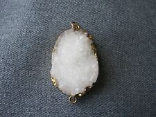Vintage white quartz stone golden sides and rings pendant link jewelry making