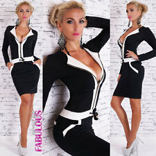 Womens Sexy Long Sleeved Stretch Dress Size 10 12 Hot Casual Party Wear Zip M L
