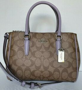 New Coach F67027 mini Surrey Carryall Coated Canvas handbag Khaki / Lilac