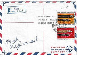 New Hebrides registered VILA to Holland MI USA w/ #176, 180. L@@K (c363)