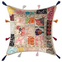 Indian Cotton Decorative Pillows 17 x 17 Inch Patchwork Floral Cushion Cover