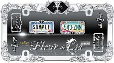 Chrome/ Black Metal Fleur-de-Lis License Plate Frame Car auto Truck Tag Holder 1